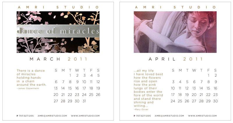 March-April calendar pages